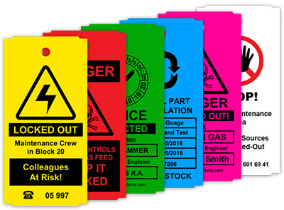 Riskityypin mukaan värikoodattu tarra lisää viestin selkeyttä.